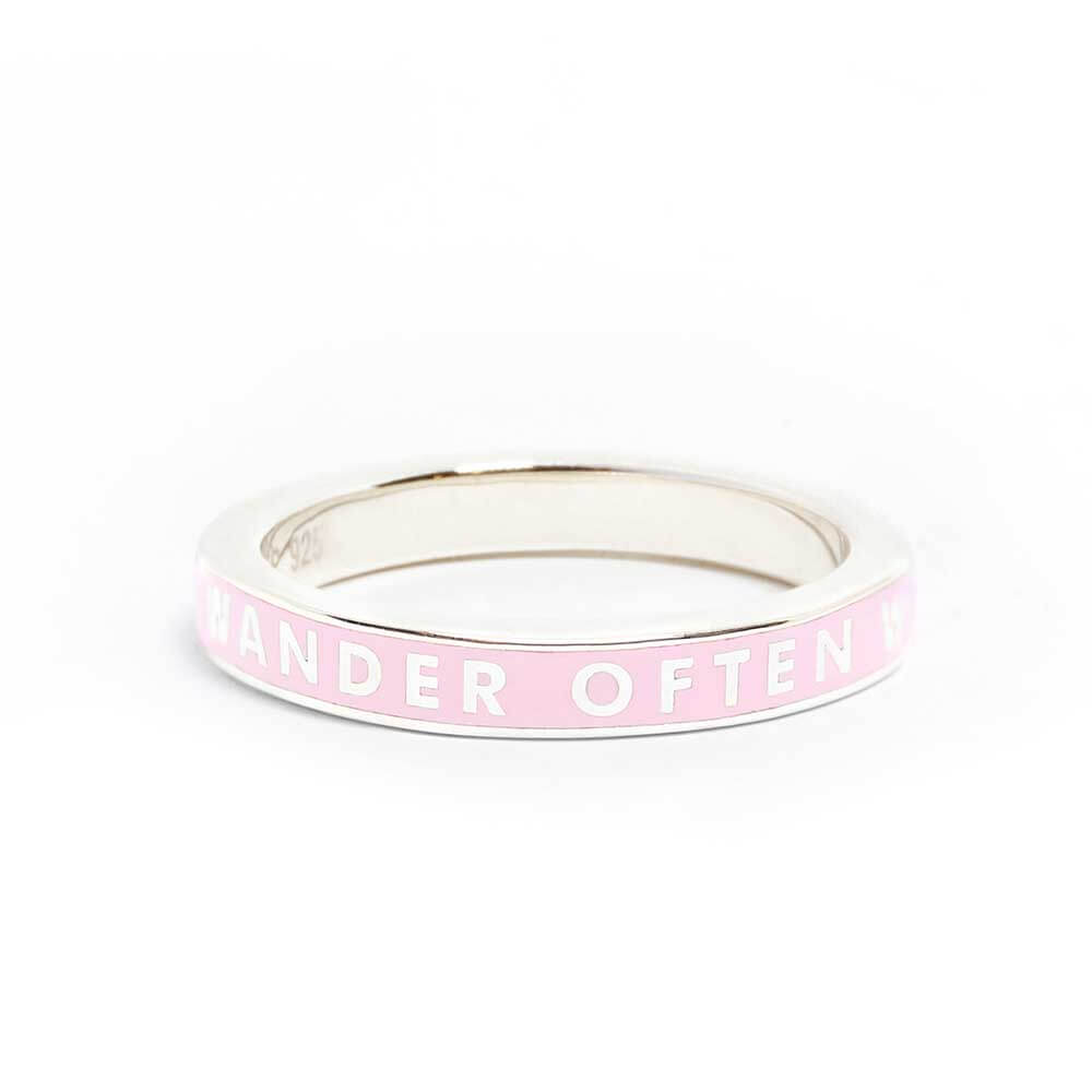 Pink Enamel Ring in Sterling Silver, Wander Often (SHIPS JUNE) - JET SET CANDY