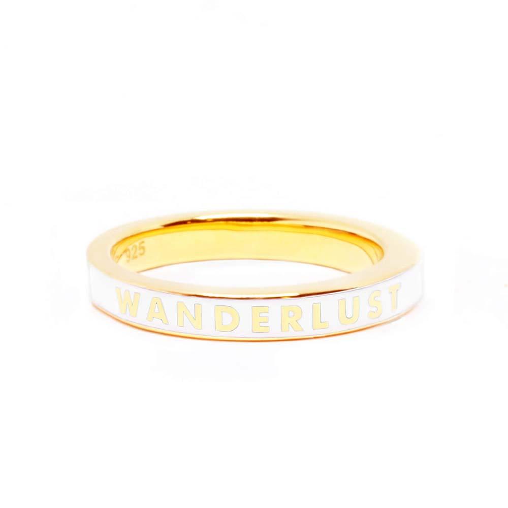 Gold Wanderlust Ring with White Enamel (BACK-ORDER-SHIPS APRIL) - JET SET CANDY