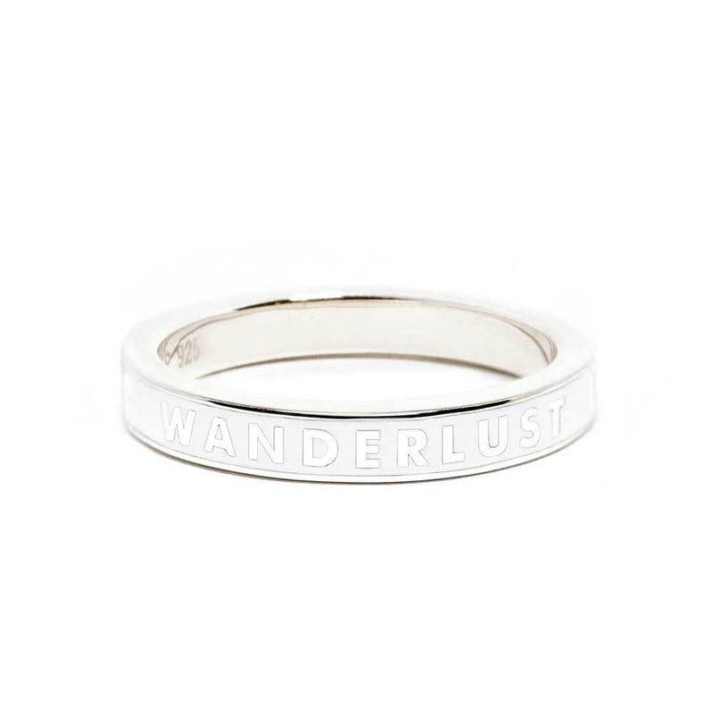 "White Enamel ""Wanderlust"" Sterling Silver Ring - JET SET CANDY"