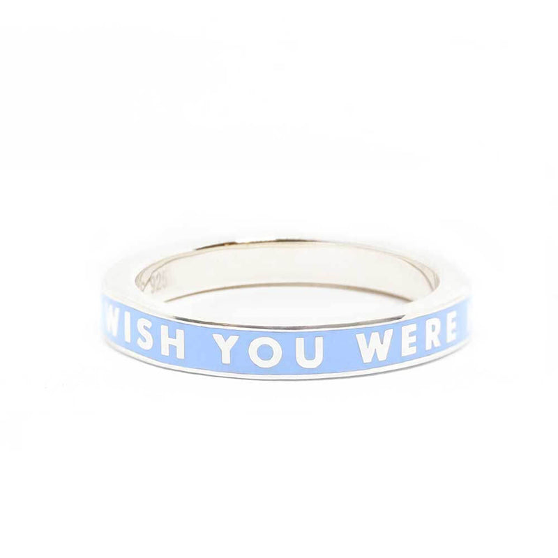 "Blue Enamel Silver Travel-Inspired Ring ""Wish You Were Here"" (BACK-ORDER-SHIPS MARCH) - JET SET CANDY"