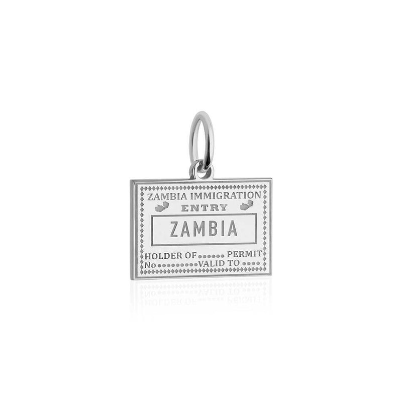 Sterling Silver Travel Charm, Zambia Passport Stamp - JET SET CANDY