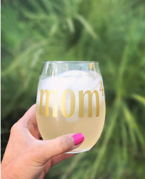 MOM stemless wine glass/ MOM2/ MOM3/ MOM4/MOM5/ Mother's Day/ customized glasses/personalized glass/ mom to the power of/