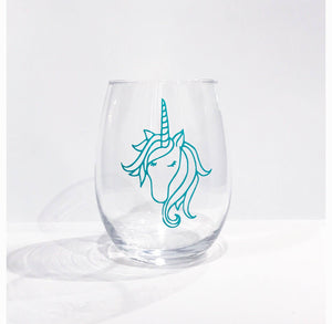 Unicorn stemless wine glass/ best friends gift/ custom glass/ personalized gift
