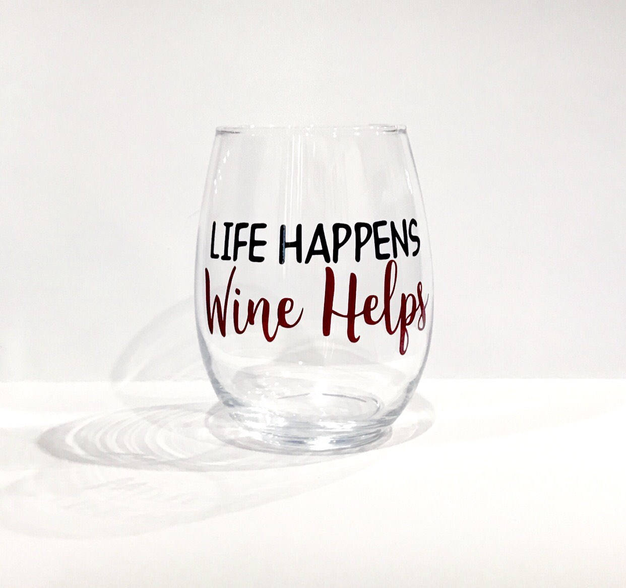 Life Happens Wine Helps stemless wine glass/ personalized glass/custom glass/ fun gift/ get well soon/ sick gift/ friend gift