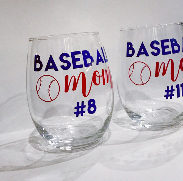 Baseball Mom stemless wine glass/ football mom/ soccer mom/ personalized glass/ custom glass/ coach gift