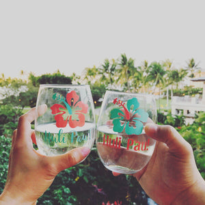 Huli Pau! Hawaiian Cheers Hibiscus Flower stemless wine glasses/ travel glasses/ world glasses/ custom glass/ personalized glass/ cocktail