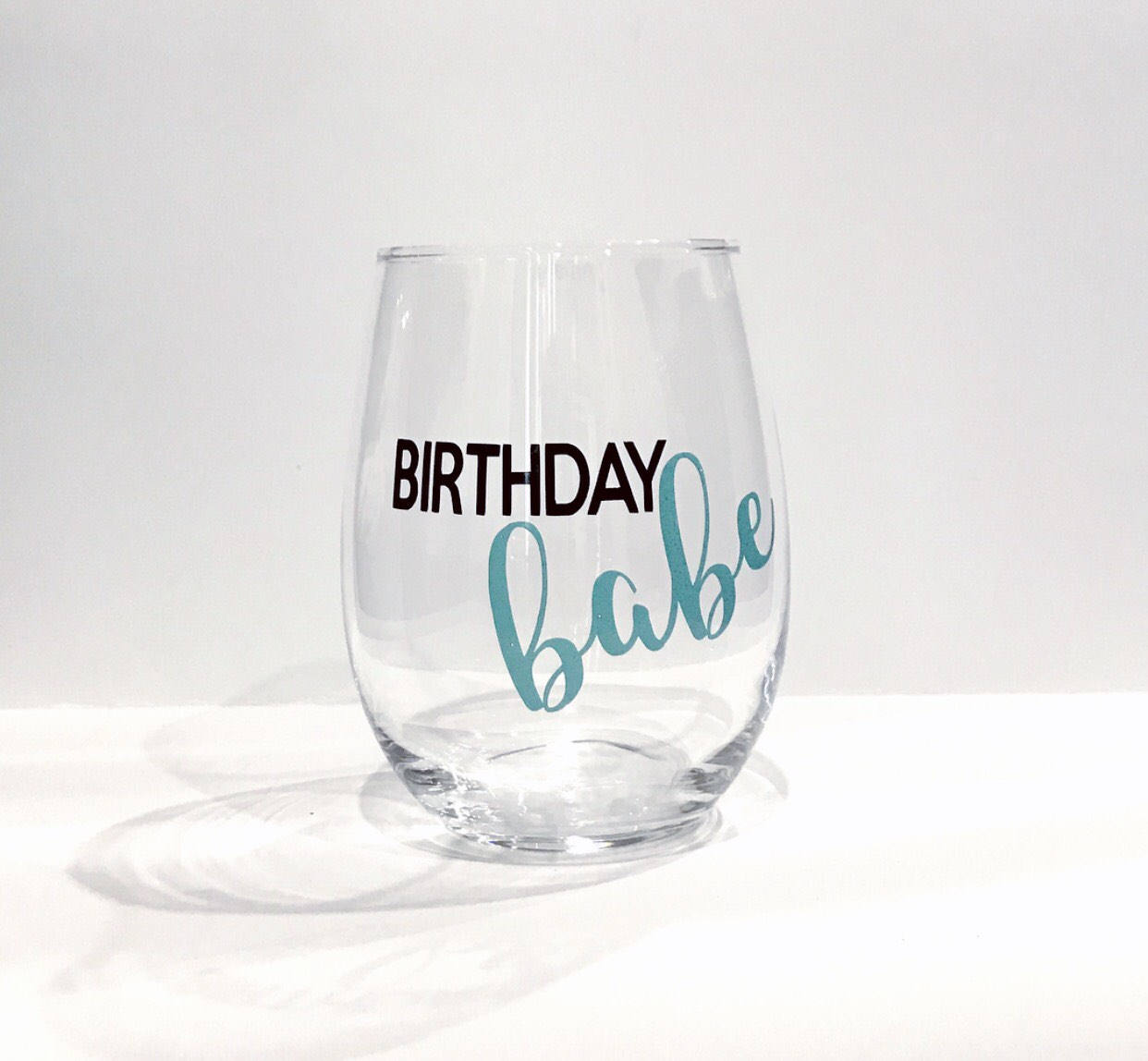 Birthday babe stemless wine glass/ birthday gift/ custom glass/ personalized glass/ girlfriend gift/ birthday glass