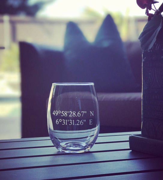 Personalized Coordinate gift, personalized coordinate glass, coordinate wine glass personalized, longitude and latitude gift, travel gift