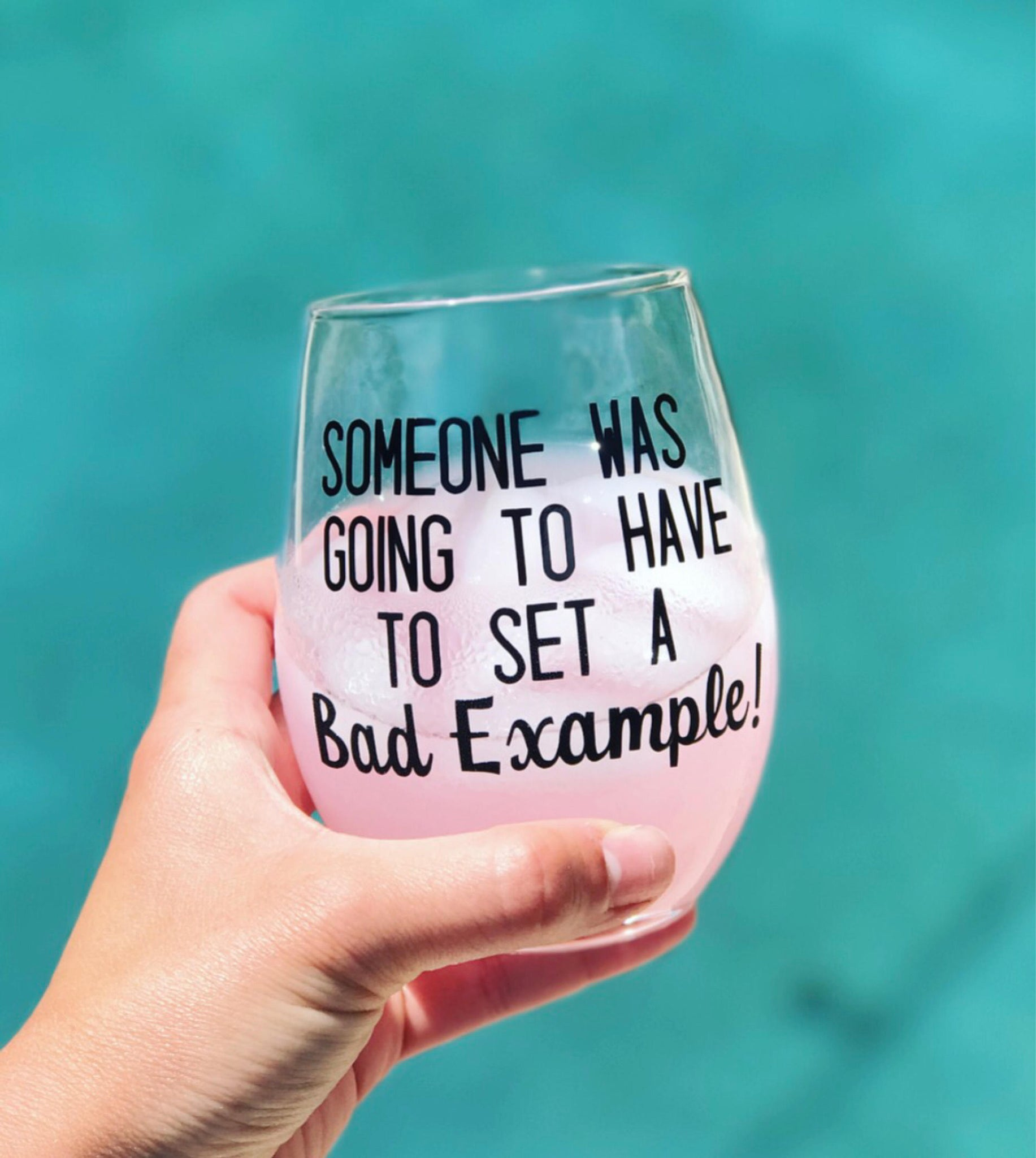 Someone was going to have go set a bad example! Stemless wine glass/ custom glass/ personalized glass/ cocktail glass/ gifts