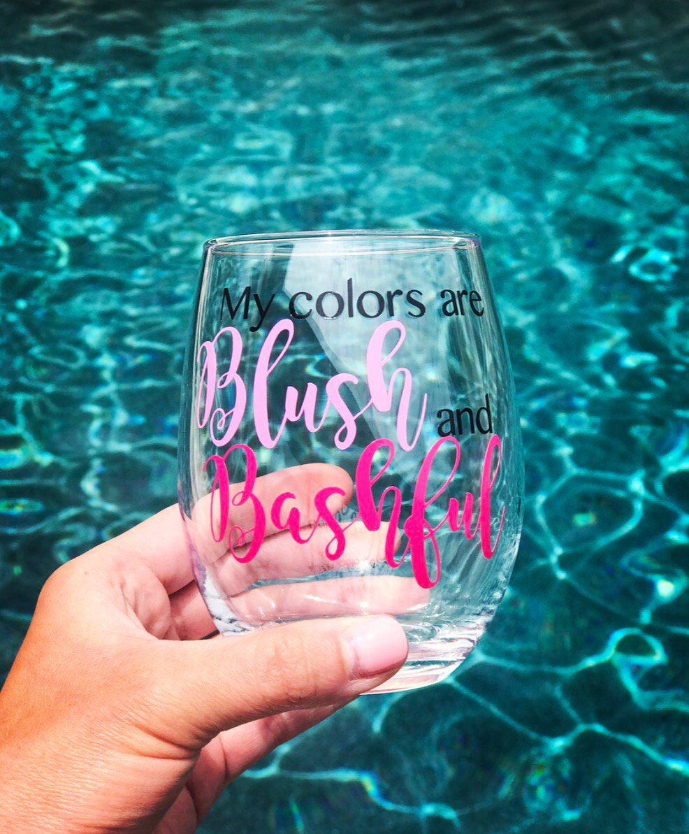My colors are Blush and Bashful stemless wine glass, steel magnolias, 90's, 80's, classic movie, best friend gift, bachelorette
