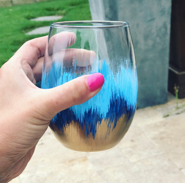 BLUE and Gold stemless wine glass/ custom glass/ Birthday gift/ wedding glasses/ bachelorette party/ teacher gifts/ college grad/ paint vase