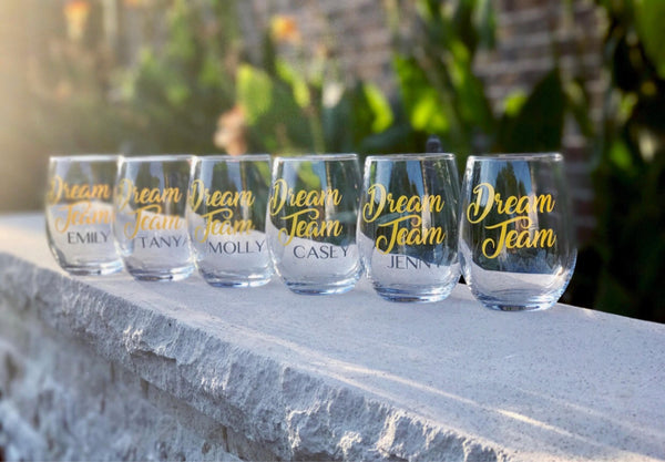 Dream Team glass/ custom wine glass/ personalized team glasses
