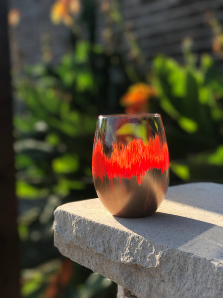 Orange and metalic Gold wine glass/ Watercolor glass/ hand painted/ longhorns glass/ texas longhorns wine glass/ painted ombre vase