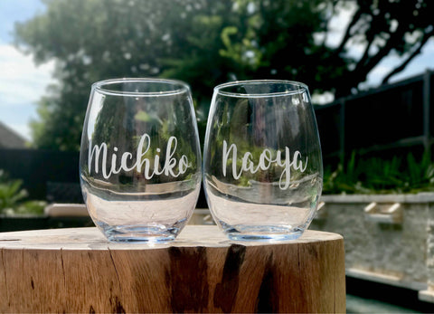 Bridesmaids etched stemless wine glasses, bachelorette party stemless wine glasses, customized wine glasses, personalized wine glasses, brid