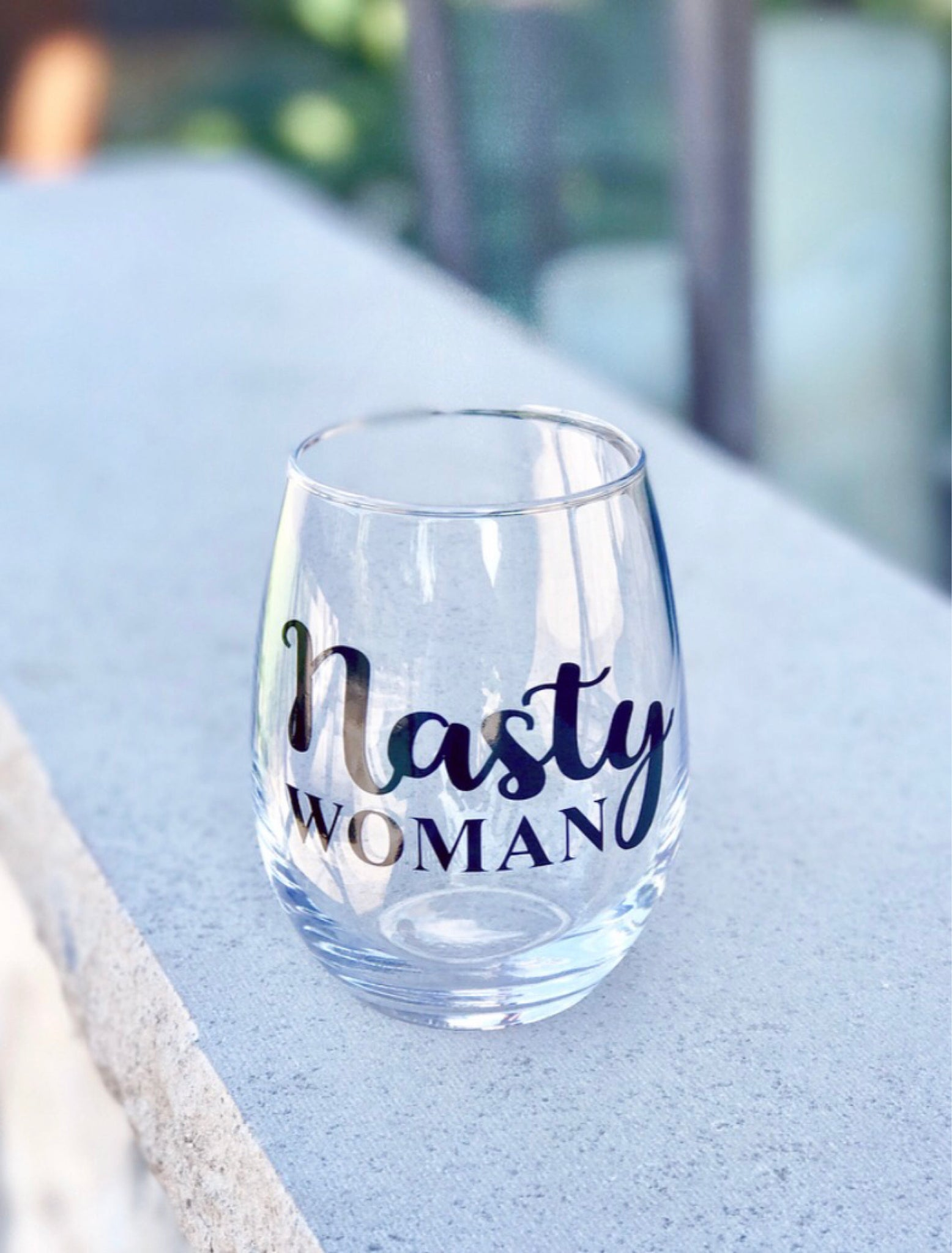 Nasty woman stemless wine glass/ political gift/ gag gift/ personalized glass/ custom glass/ politics/ trump/ republican/ democrat