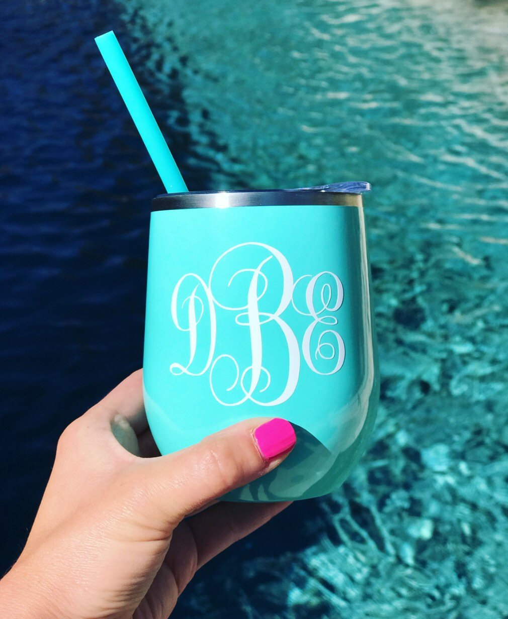MINT Stainless steel wine tumbler, personalized wine tumbler, metal cocktail tumbler, metal wine glass, insulated wine tumbler, monogram tum