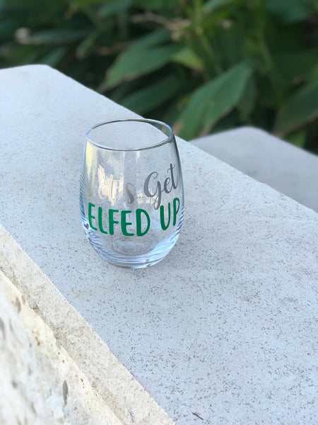 Funny Gag Gift, Funny Christmas gift, Funny Secret Santa gift, Christmas gag gift, Christmas wine glass, white elephant gift, lets get elfed