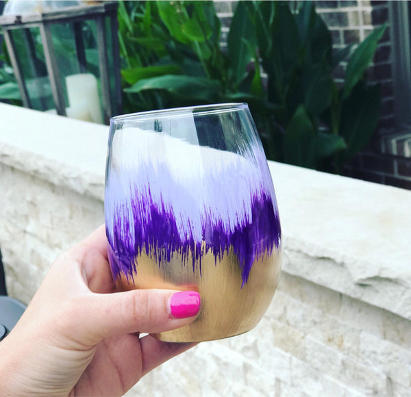 Purple and Gold painted Stemless wine glass/ bachelorette party/ Birthday gift/ teacher gift/ hand painted wine glass/ painted flower vase