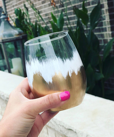 Colorful wine glass, hand painted wine glass, wedding wine glass, engagement wine glass, white and gold wine glass, ombré  glass, ombre vase