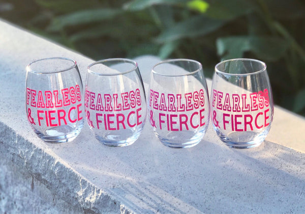 FEARLESS and FIERCE stemless wine glass/ team glasses/ custom team gifts