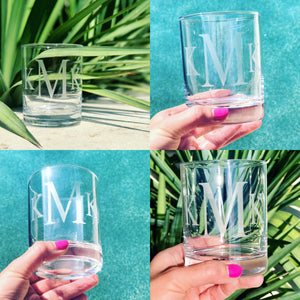 Monogram whiskey glass, initial whiskey glass, name whiskey glass, custom cocktail glass, personalized whiskey glass, Groomsmen gift, weddin