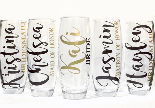 Bridesmaid champagne glasses, wedding party glasses, bridal party glas, bachelorette party, groomsmen, personalized bridal glasses, wedding