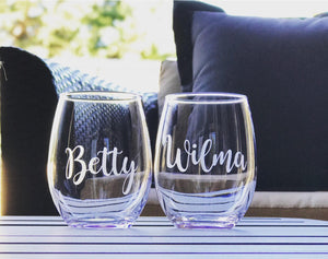 Betty and Wilma stemless wine glass set, best friend glasses, best friend gift, Flintstones wine glasses, funny bestie gift, partner in crim