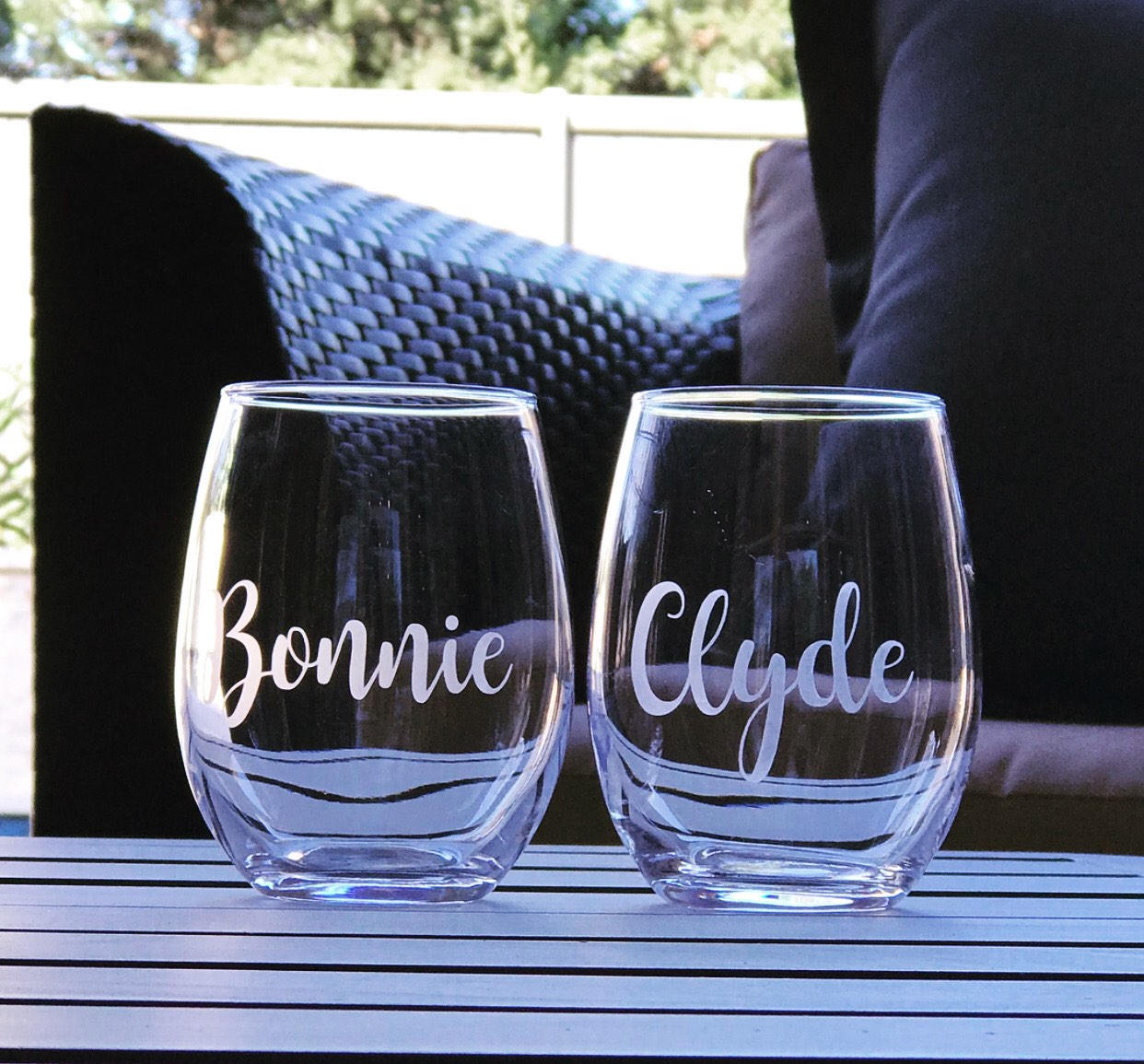 Bonnie and Clyde stemless wine glass set, best friends glasses, best friend gift, partner in crime, ride or die gift, funny partner gift