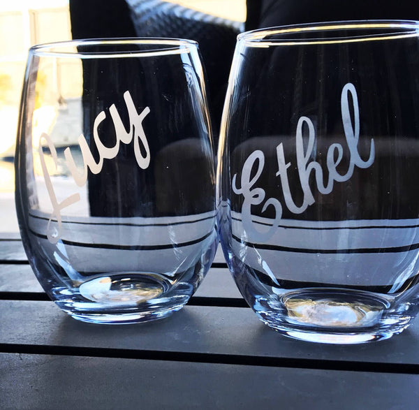 Lucy and Ethel, partners in crime, lucy glass set, best friends glasses, etched friends glasses, Lucy and Ethel glass set