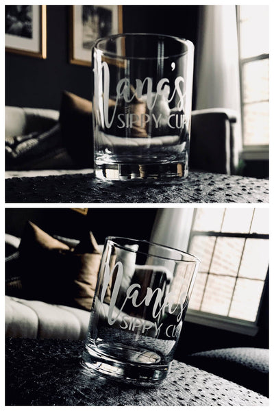 Personalized grandparents gift, etched grandmother glass, etched grandfather glass, personalized wine glass, etched name glass, personalized