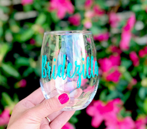 Bridezilla wine glass, Something Blue Glass, Funny Bridezilla glass, Bride Wine Glass, Bridezilla gift, Gift for Bride