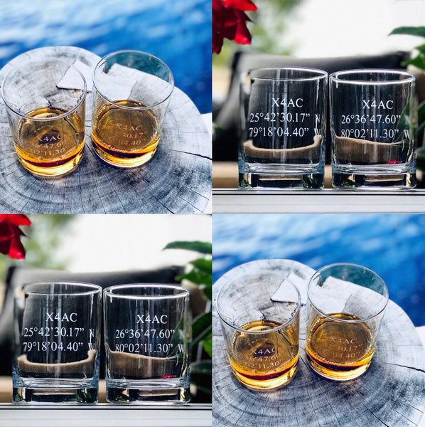 Coordinates whiskey glass, wedding whiskey glass, personalized groomsmen gifts, personalized anniversary gift, fathers day whiskey glass,