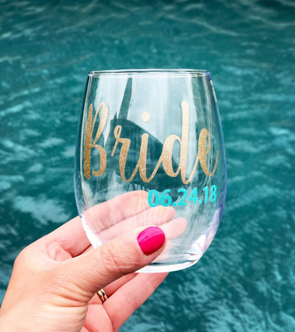 Bride Wine Glass, Personalized Bride wine glass, Engagement bride glass, wine glass for bride, cute engagement gift for bride, wedding party