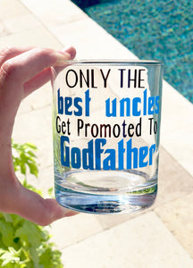 Uncle Godfather Glass/ christening gift/ godparents glass/ baptism gift/ godfather gift/ godfather glass