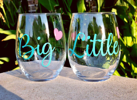 Sorority wine glasses, big sis glass, lil sis glass, big sister glass, little sister glass, sorority sister gifts, sorority pledge gift