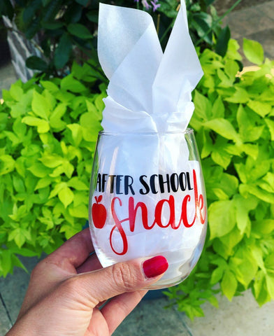 Cute Teacher Gift, Teacher Gift cute, cute teacher wine glass, personalized glass, After school Snack wine glass