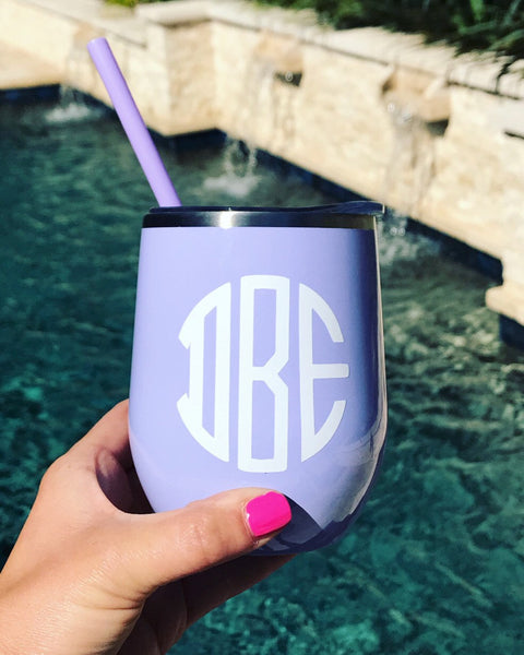 Lavender wine tumbler, purple wine tumbler, cute metal tumbler, personalized metal tumbler, custom wine tumbler, light blue tumbler, metal w