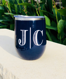 Navy wine tumbler, Blue wine tumbler, cute metal tumbler, personalized metal tumbler, custom wine tumbler, dark blue tumbler, metal w