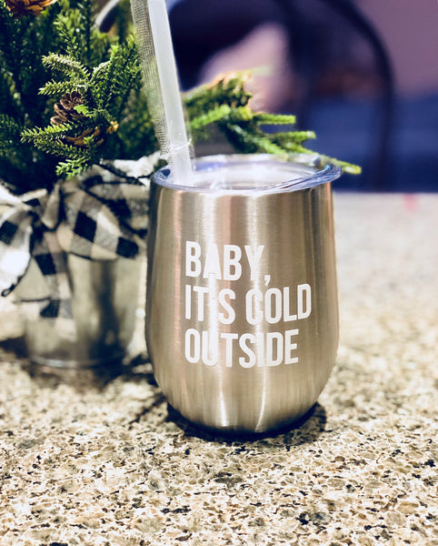 Christmas wine tumbler, Silver metal wine tumbler, christmas gift for her, silver christmas tumbler, stainless steel wine glass, baby its