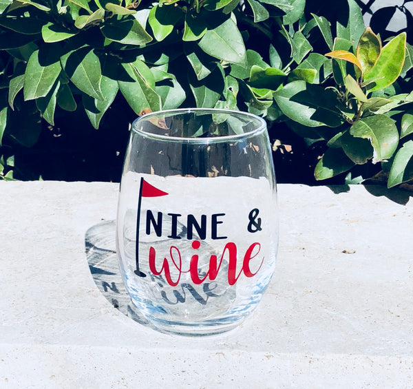 Nine and wine golf wine glass/ nine and whiskey golf glass/ golf gift