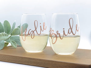 Bridal party glasses, bridal party gifts, bridesmaid personalized glasses, bridal party personalized glasses, bachelorette party gifts, wine