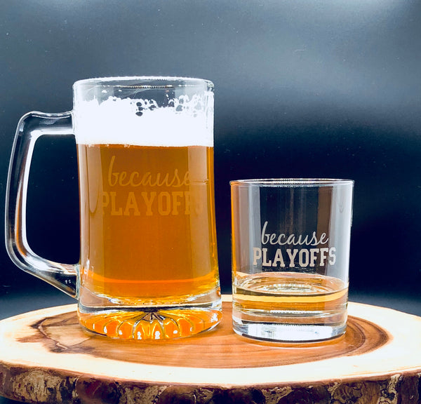 Football Playoffs Glass, Playoffs cocktail glass, Playoffs Whiskey Glass, funny Sports glass, Funny gift for him, Funny glass for men
