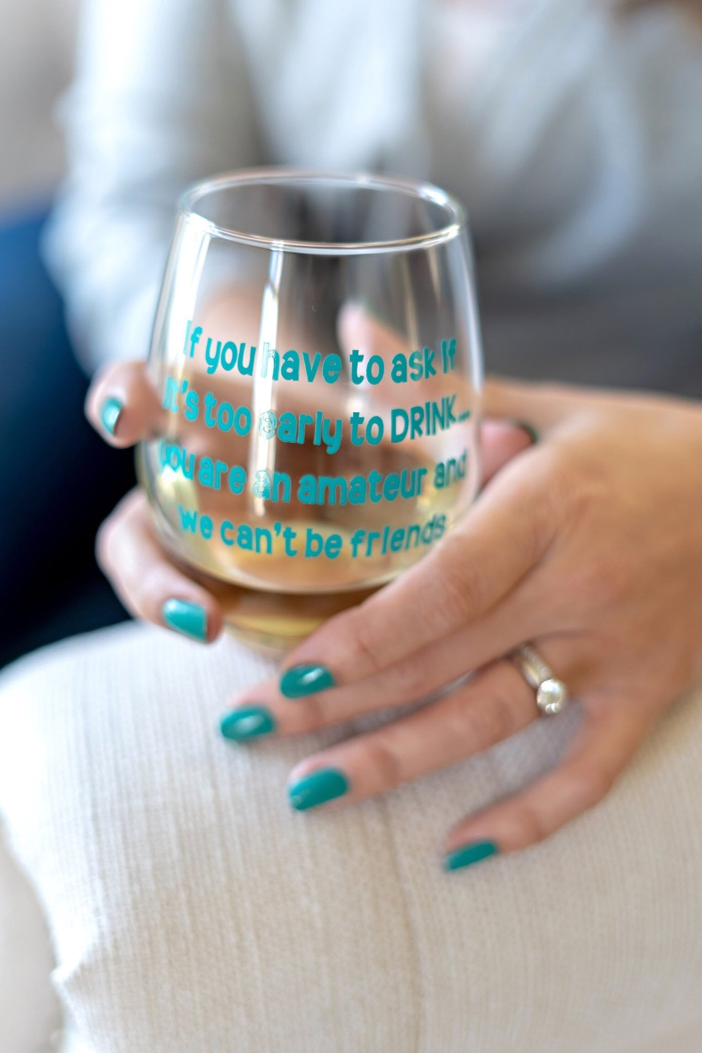 Too early for a drink glass, Amateur drinker glass, Funny gift for friends, funny wine glass for friends, best friends wine glass, bestie