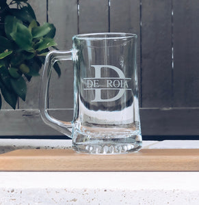 Monogram Beer Mug, personalized beer mug, custom beer mug, initials beer mug, etched beer mug, split monogram beer mug, groomsmen beer mug