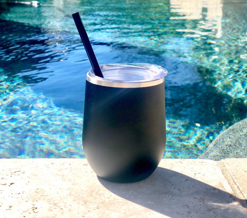 Personalized Matte Black wine tumbler, Matte Black wine steel tumbler, customized matte black metal wine tumbler, personalized metal glass