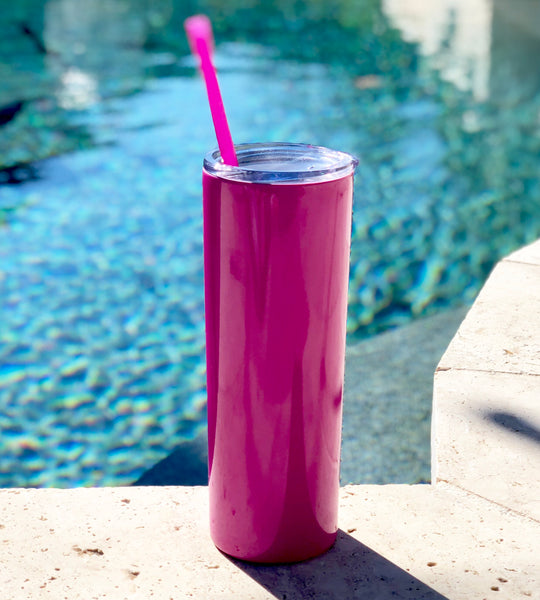 Pink Drink Tumbler, Tall Drink Tumbler, Pink Cocktail Tumbler, Pink Metal Drink Cup, stainless steel Cup, custom metal cup, fuchsia