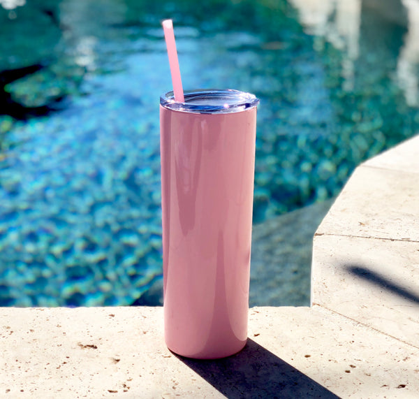 Light Pink Drink Tumbler, Tall Drink Tumbler, Light Pink Cocktail Tumbler, Light Pink Metal Drink Cup, stainless steel Cup, custom metal cup