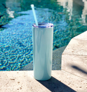 Teal Drink Tumbler, Tall Drink Tumbler, teal Cocktail Tumbler, tral Metal Drink Cup, stainless steel Cup, custom metal cup, seafoam metal