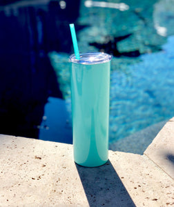 Mint Drink Tumbler, Tall Drink Tumbler, Mint Cocktail Tumbler, Mint Metal Drink Cup, stainless steel Cup, custom metal cup, Teal