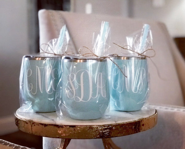 Personalized Seafoam wine tumbler, Seafoam wine steel tumbler, customized seafoam metal wine tumbler, personalized tiffany blue glass